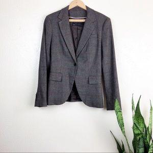Zara Academia Brown Plaid Check Blazer